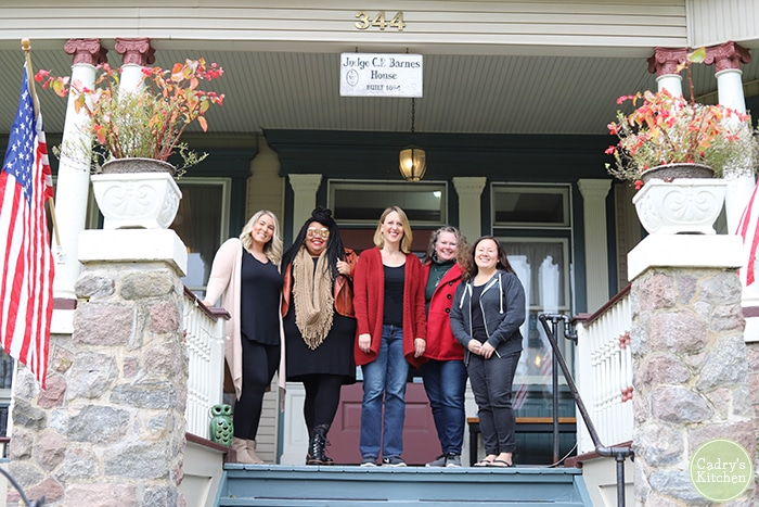 Sierra Holmes, Ashley Rhoades, Laura VanZandt, Cadry Nelson, and Theresa Goodrich in front of Cherry Tree Inn Bed & Breakfast.