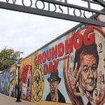 Groundhog Day mural in Woodstock, Illinois.