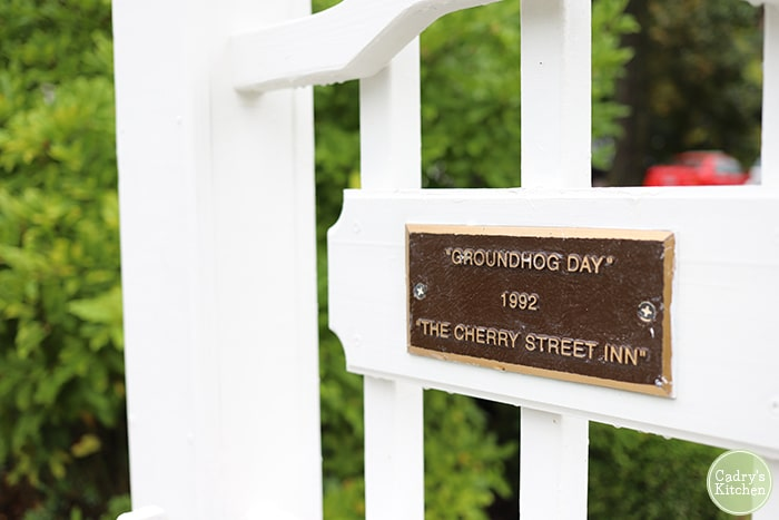 Groundhog Day plaque at Cherry Tree Inn Bed & Breakfast in Woodstock, Illinois