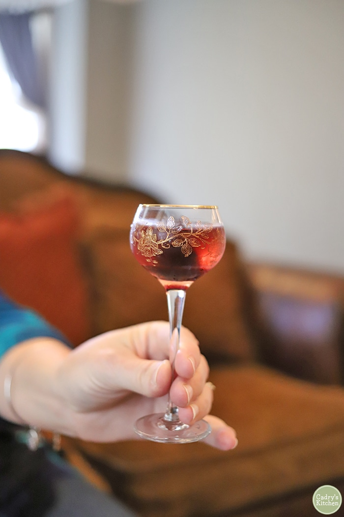 Hand holding glass with cherry cordial cocktail.