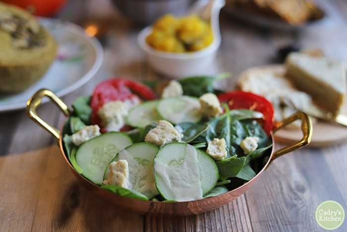 Cucumber and tomato salad with herbed feta.