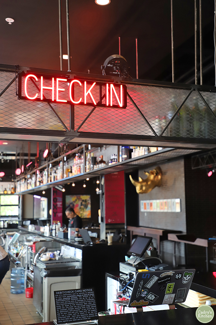 Hotel check-in at Moxy Uptown.