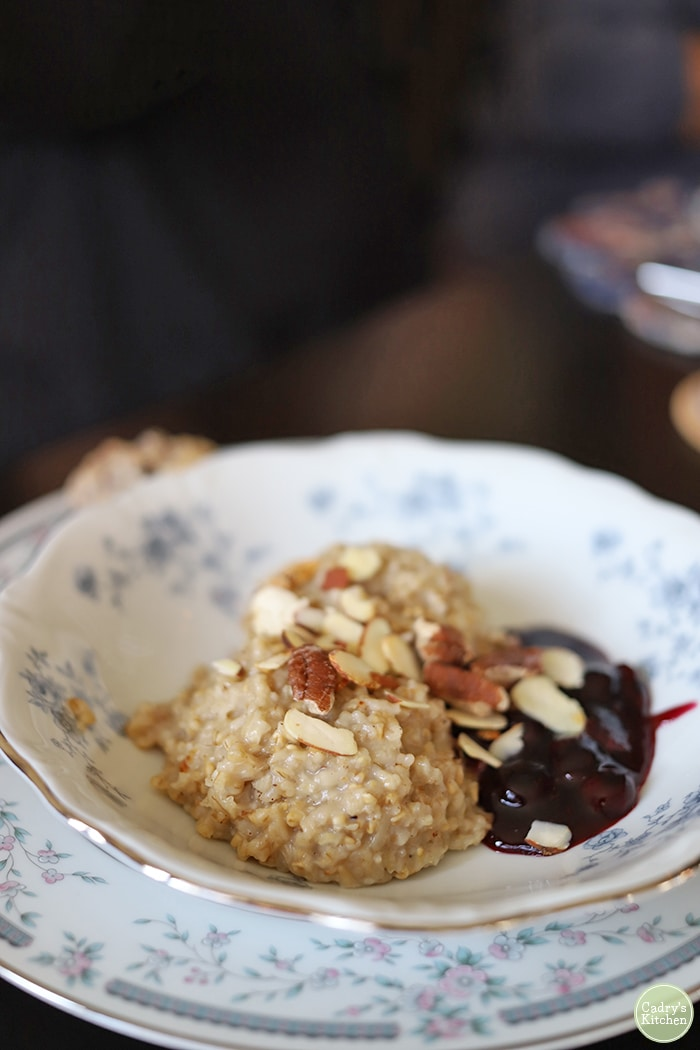Oatmeal with nuts and blueberry compote.
