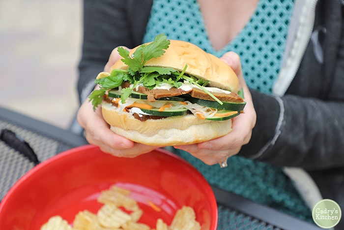 Hands holding a vegan banh mi sandwich at Old Abe in Rochester, Minnesota.