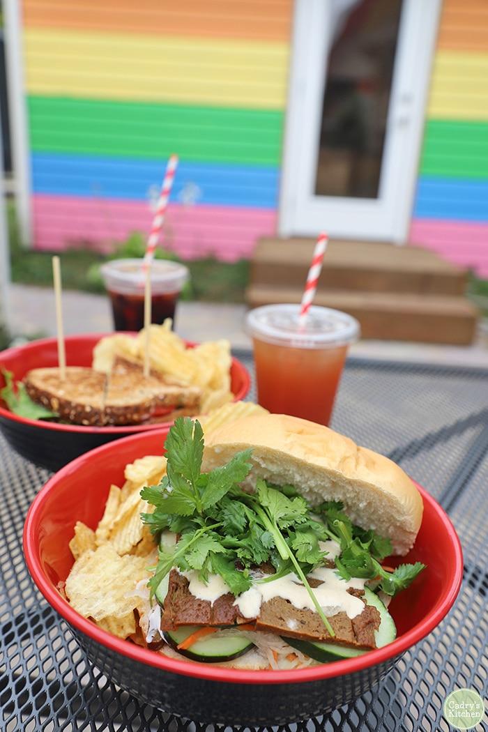 Vegan banh mi sandwich in red bowl at Old Abe.