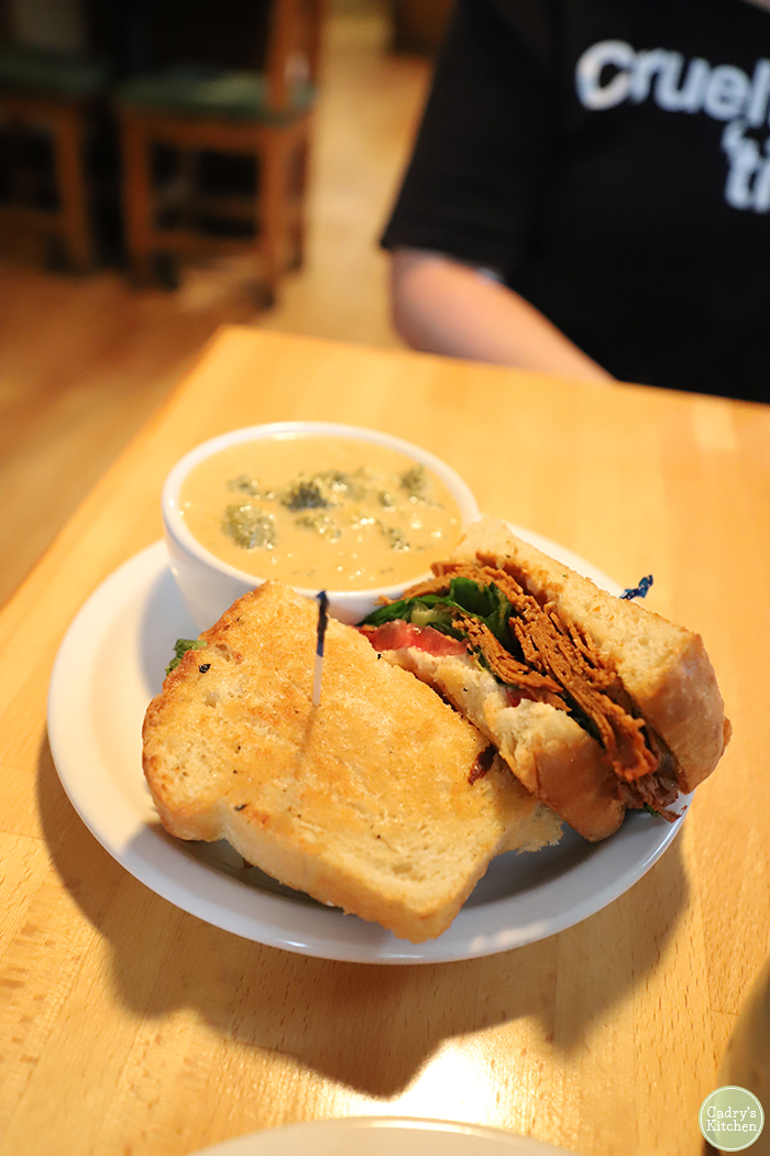 Pastrami sandwich with broccoli cheddar soup at Vegan East in Uptown Minneapolis.