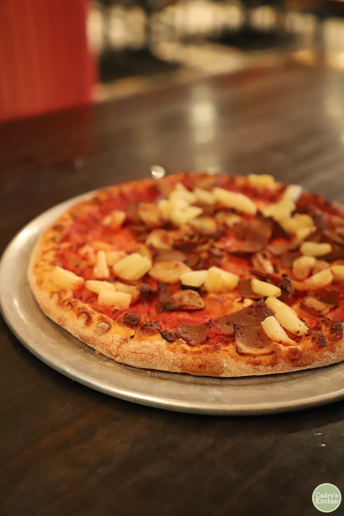 Pineapple pepperoni pizza at Pizza Luce.