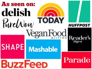Logos of places where Cadry Nelson and Cadry's Kitchen have been featured including Today, Vegan Food & Living, Buzzfeed, Parade, Reader's Digest, and Mashable.