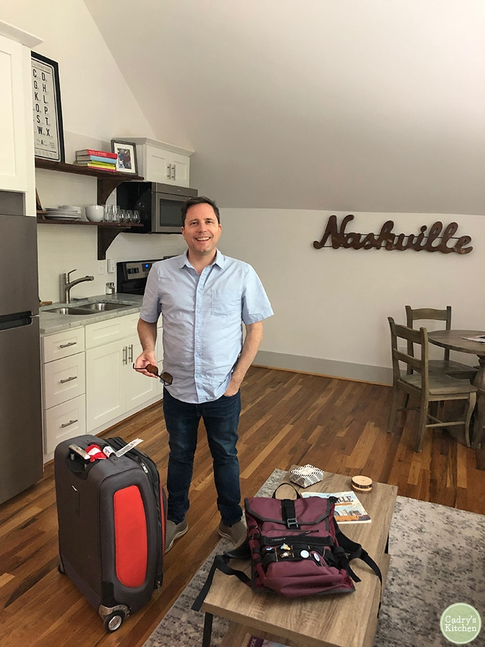David standing in Airbnb in Nashville, Tennessee.