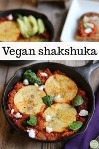 Text overlay: Vegan shakshuka. Eggy tofu in skillet with tomato sauce.