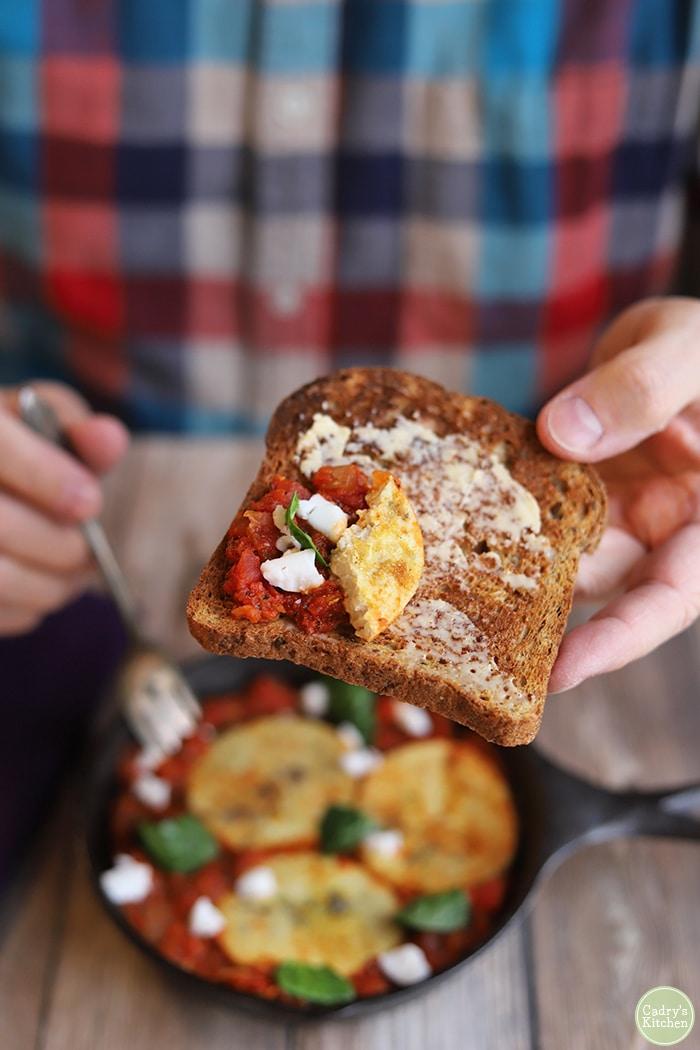 Vegan shakshuka on toast.