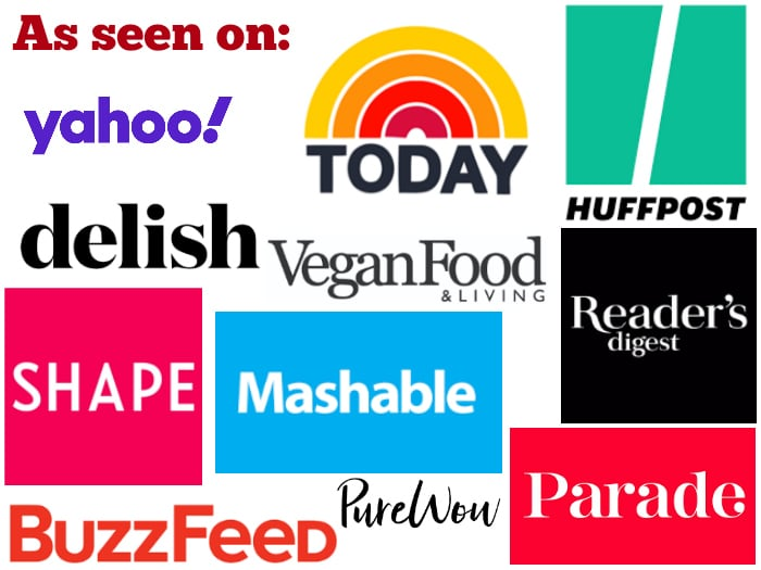 Logos of websites where Cadry Nelson and Cadry's Kitchen has been featured including Today, Parade, Mashable, Shape, Delish, Huffington Post, and Reader's Digest.
