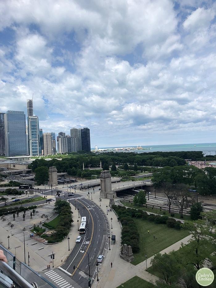 Downtown Chicago skyline and Lake Michigan.