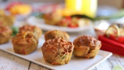 Vegan mini quiche on platter.
