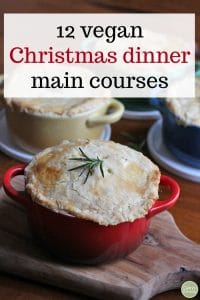Text overlay: 12 vegan Christmas dinner main courses. Pot pies in mini Le Creuset casserole dishes.
