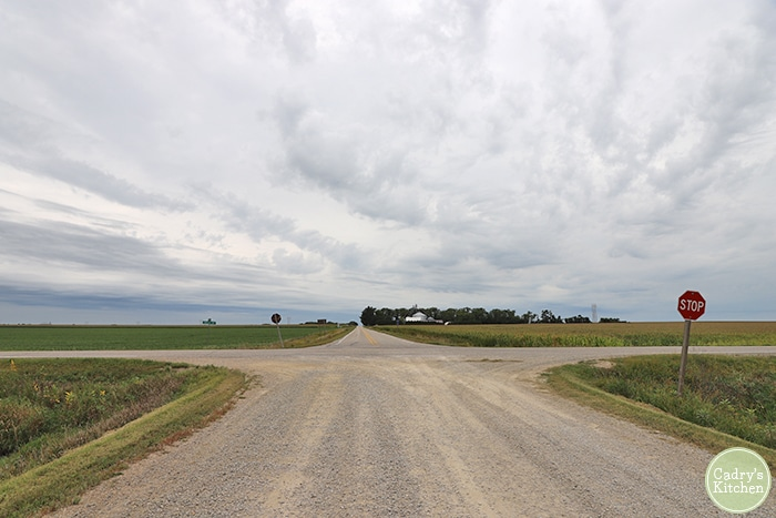 Two lane highway in Iowa