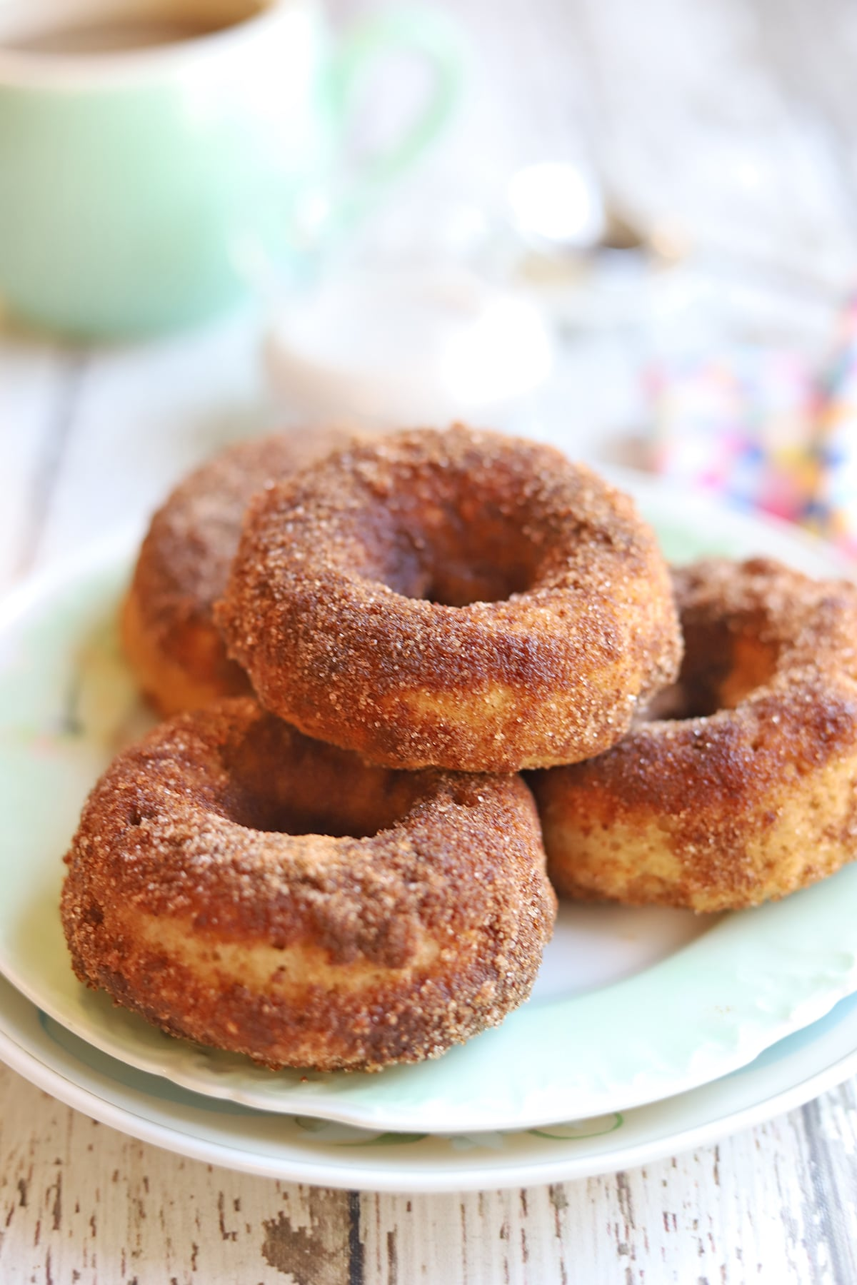 Plate of cinnamon donuts.