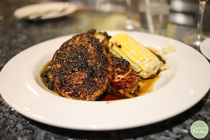 Jerk vegan chicken with corn on the cob and mashed potatoes at Ethos.