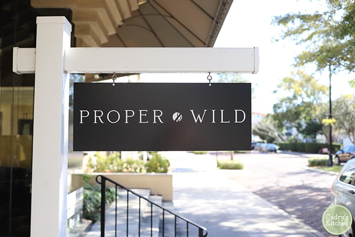 Proper and Wild sign in Winter Park, Florida.