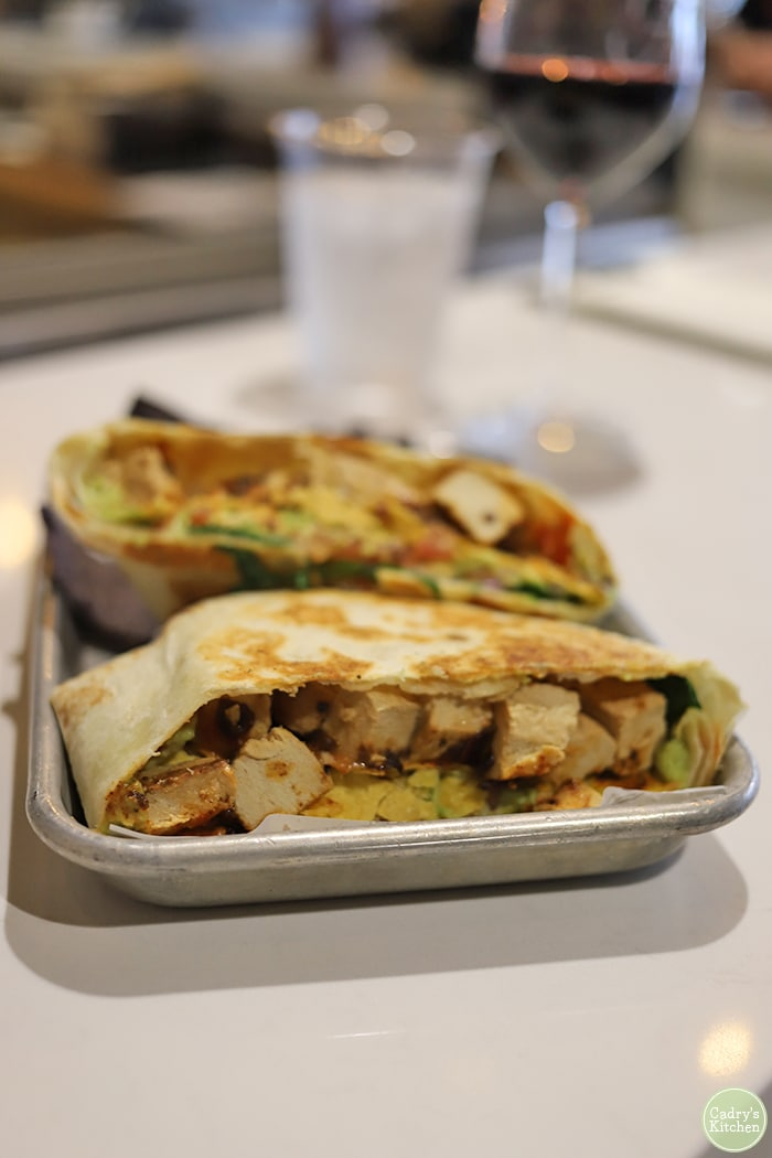 Vegan chicken crunch wrap at Leguminati.