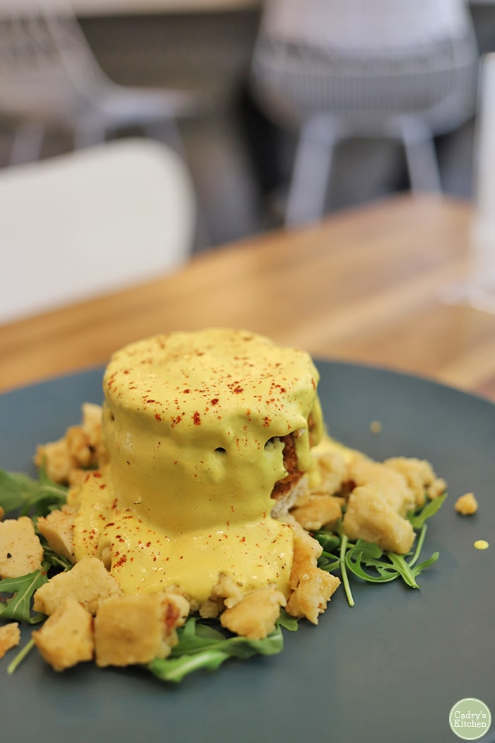 Vegan eggs benedict at Proper and Wild.