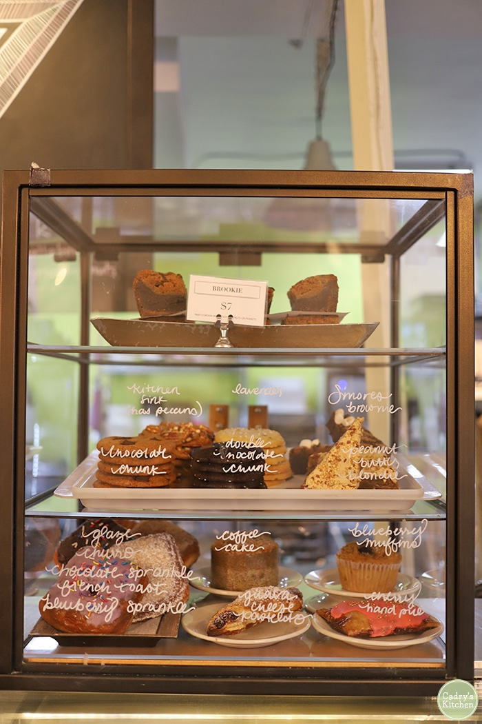 Bakery case at Valhalla Bakery.