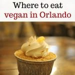 Text overlay: Where to eat vegan in Orlando. Mini banana cream pie on table.