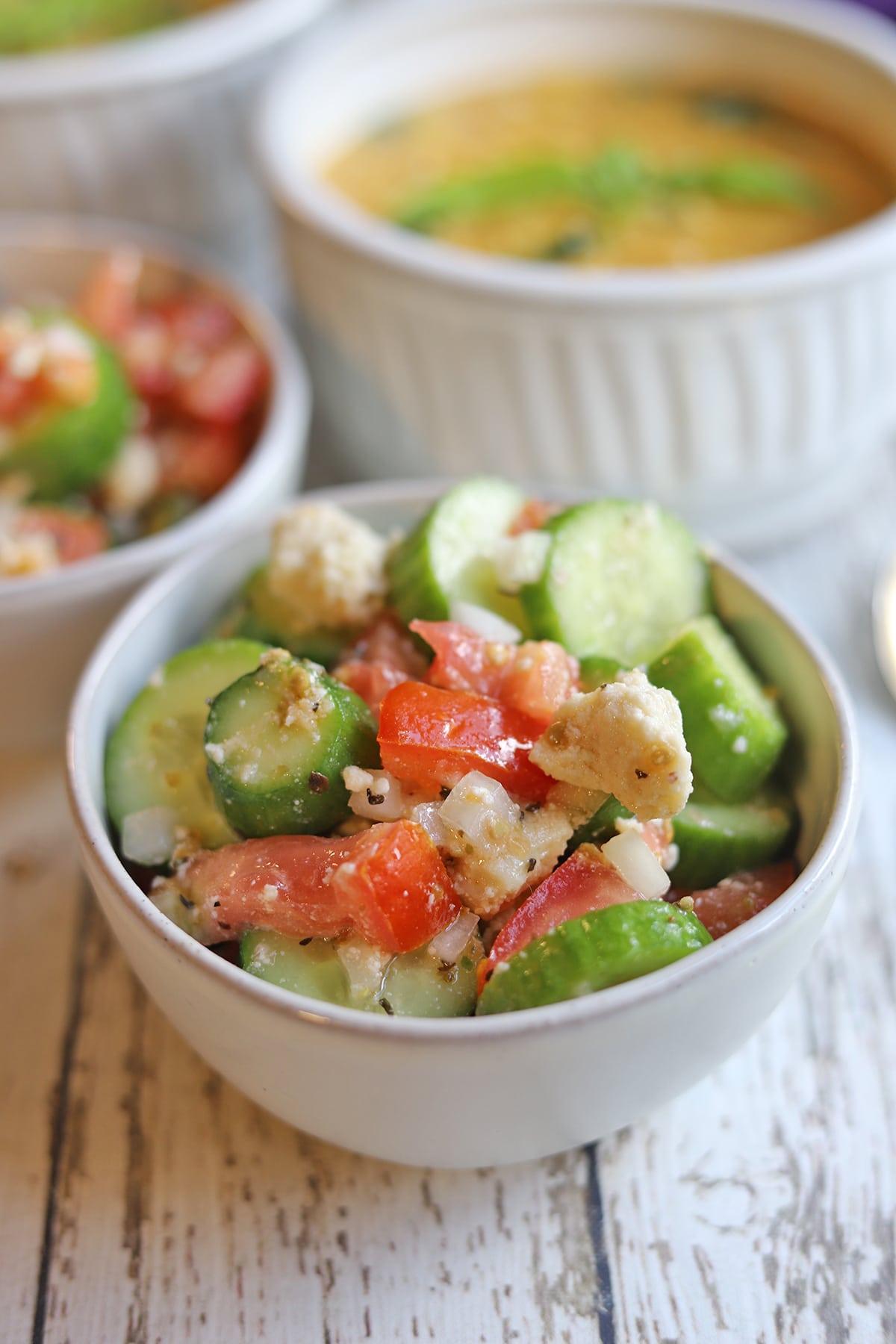 Individual bowl of salad.