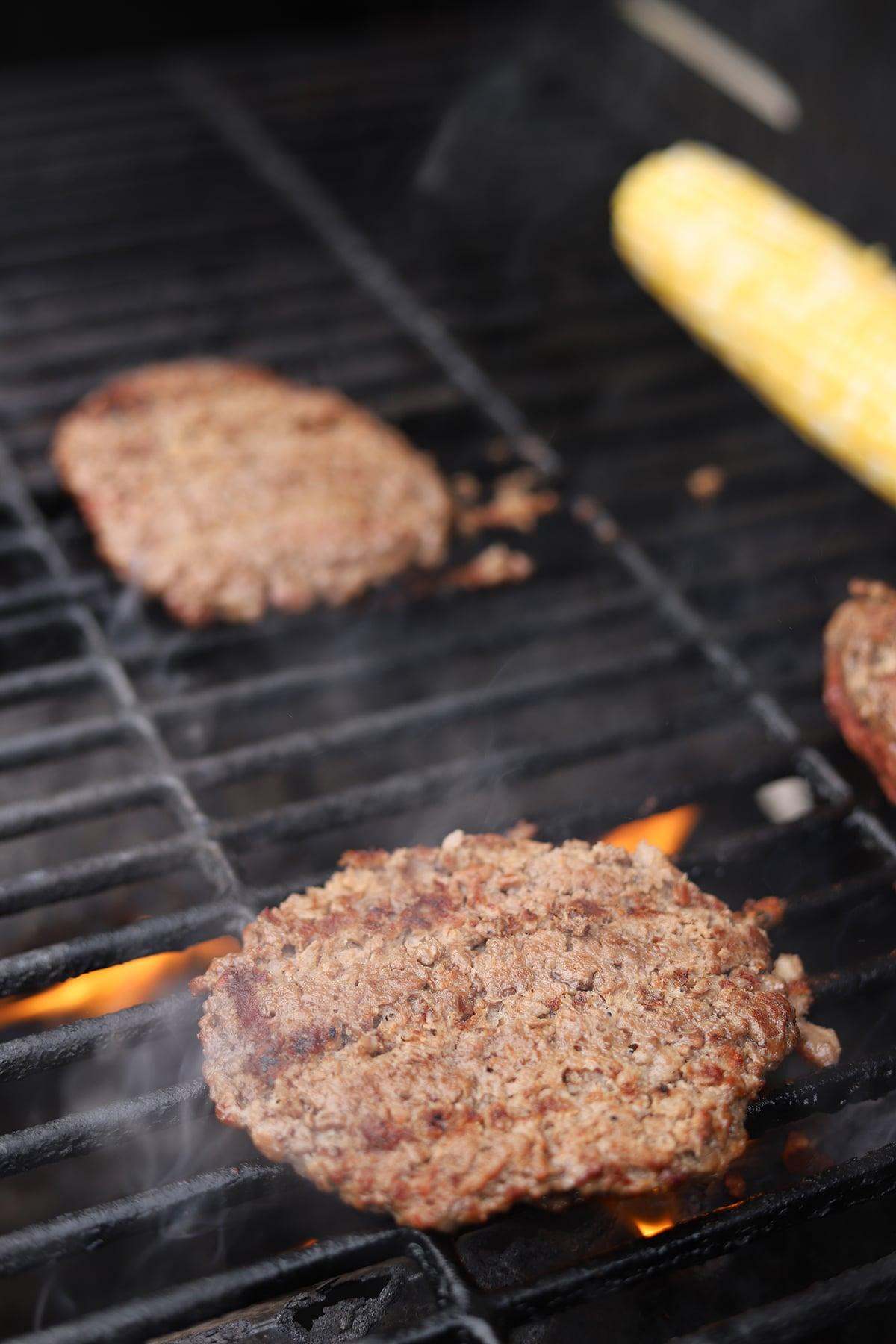 Impossible burgers on the grill.