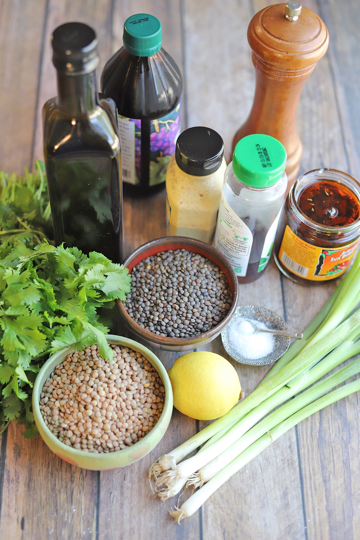 Ingredients for lentil salad on table.