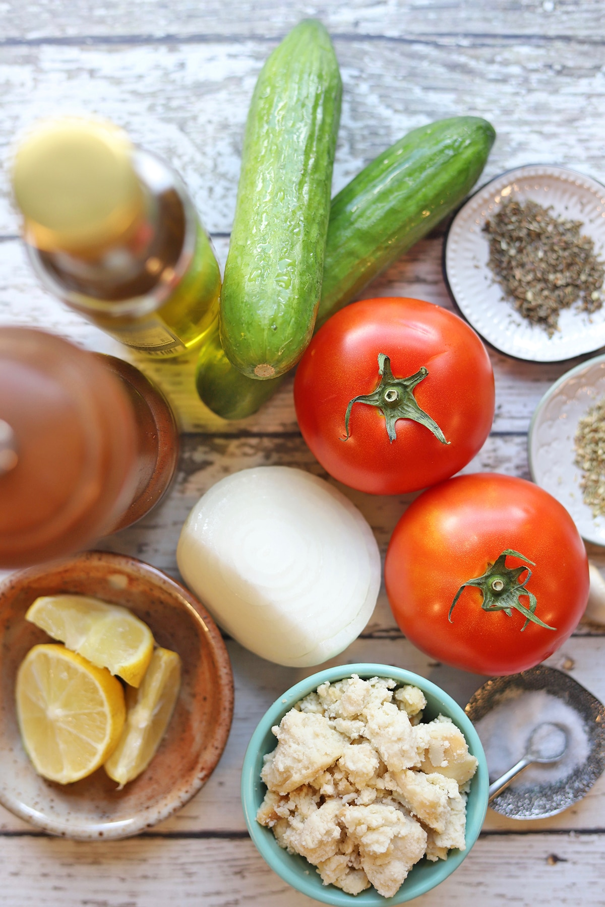 Overhead salad ingredients on table.