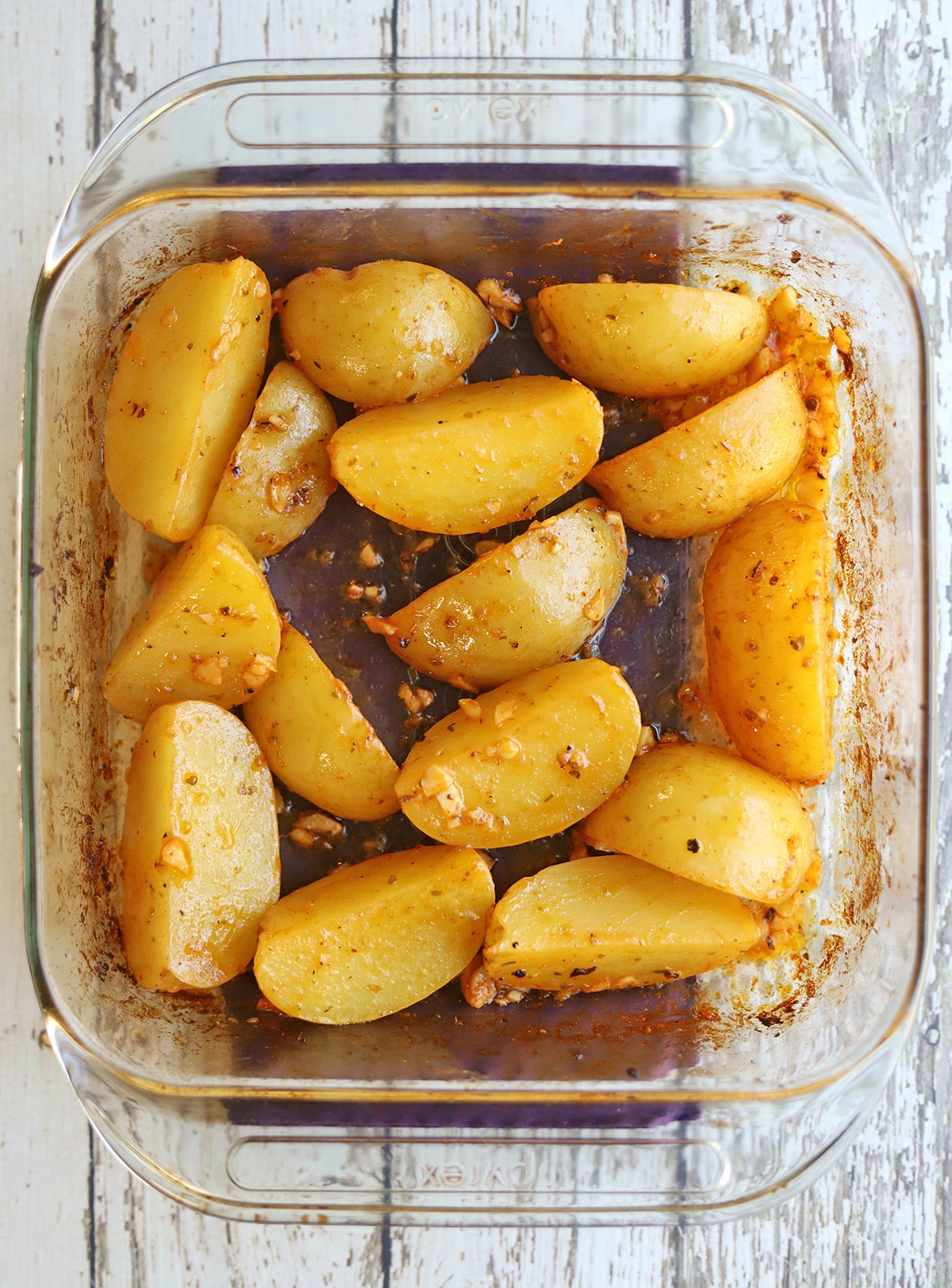 Roasted Yukon Golds in baking dish.