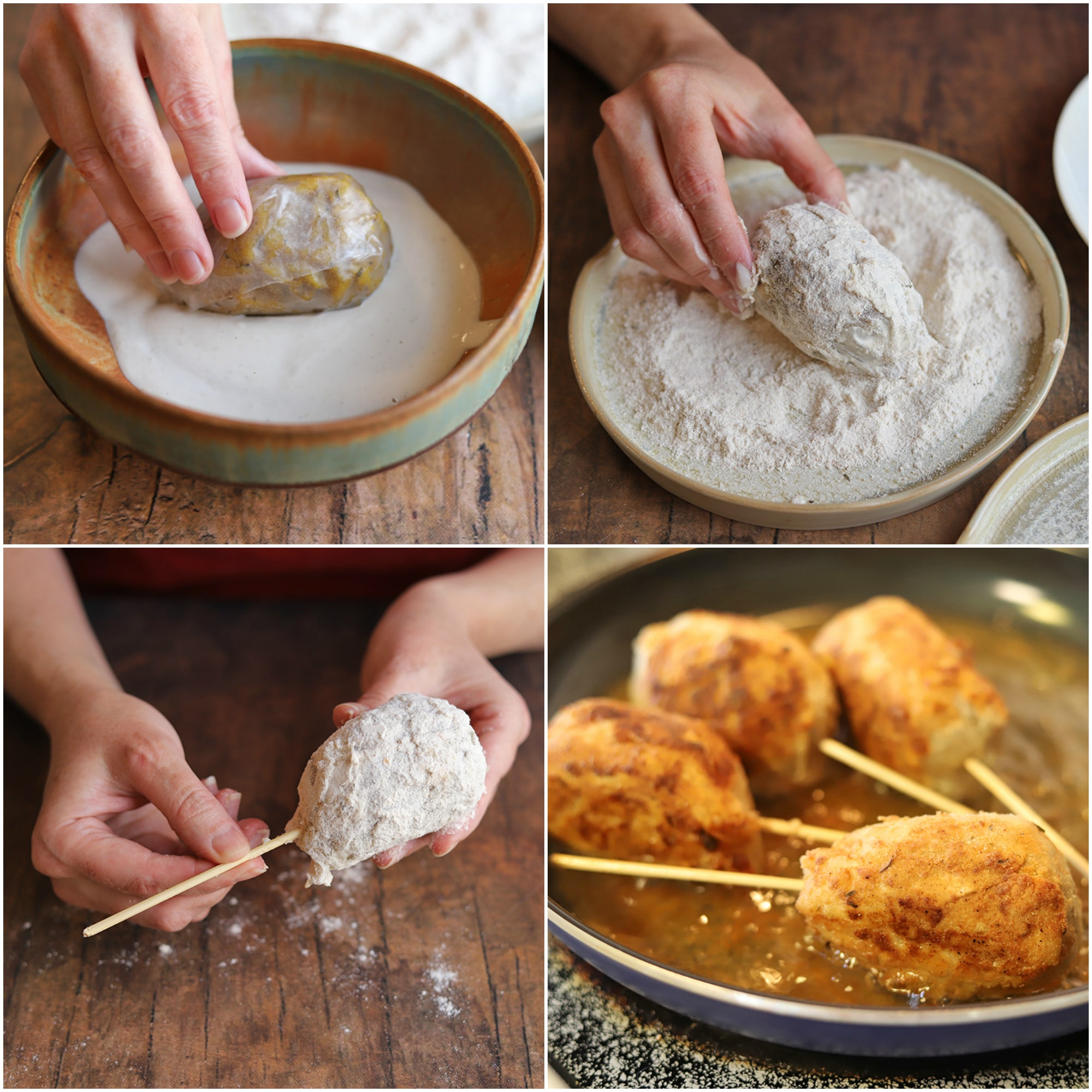 Collage showing how to bread vegan chicken - dipping in cashew cream, breading in flour, piercing with bamboo skewer, and drumsticks frying in oil.