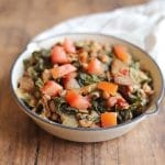 Greens and black-eyed peas in small skillet.