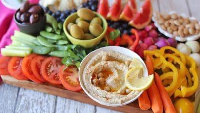 Hummus on veggie platter.