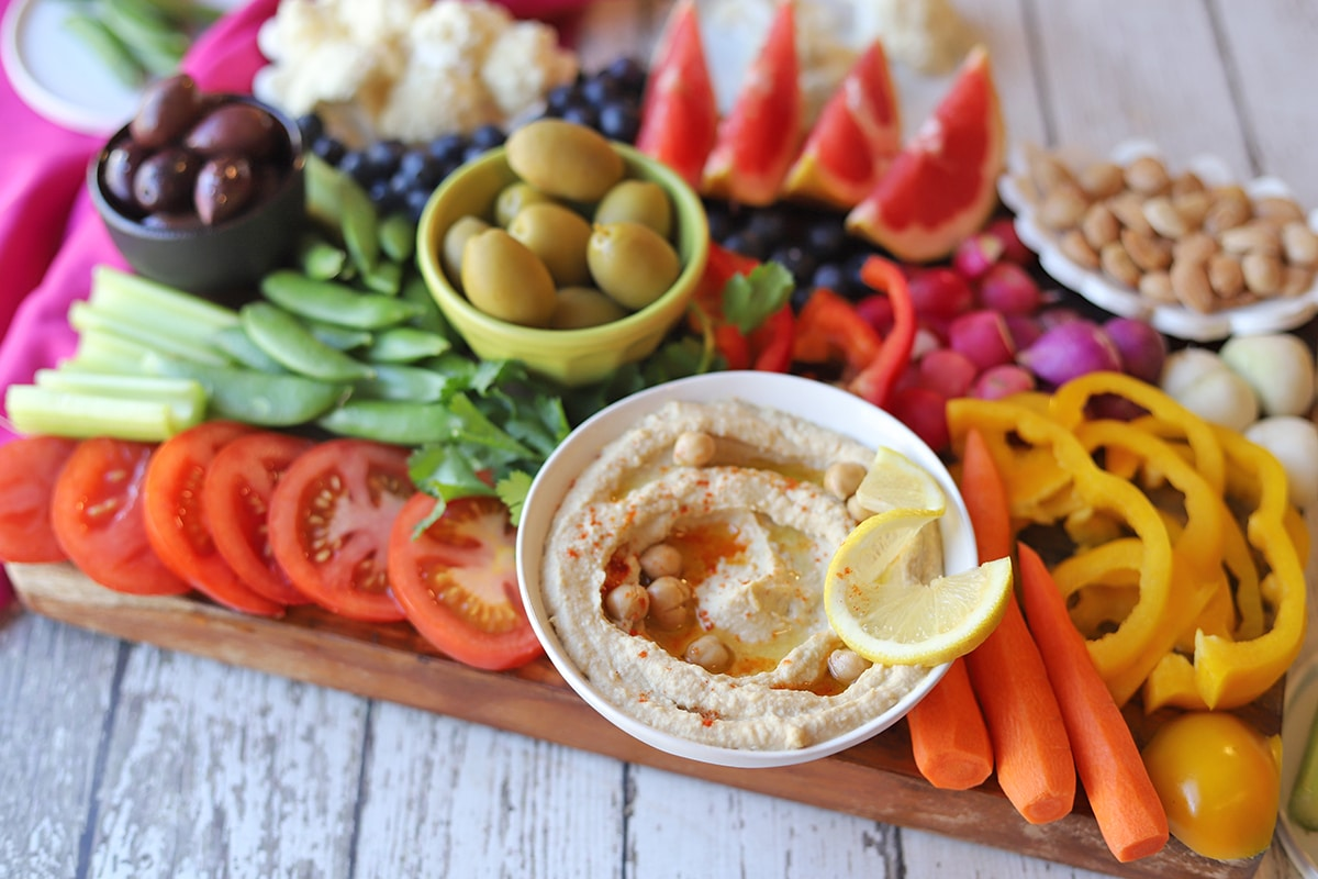 Rainbow Fruit Veggie Platter With Hummus Cadry S Kitchen