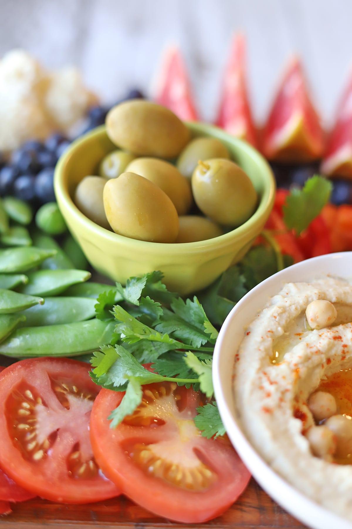 Chalkidiki olives in bowl.