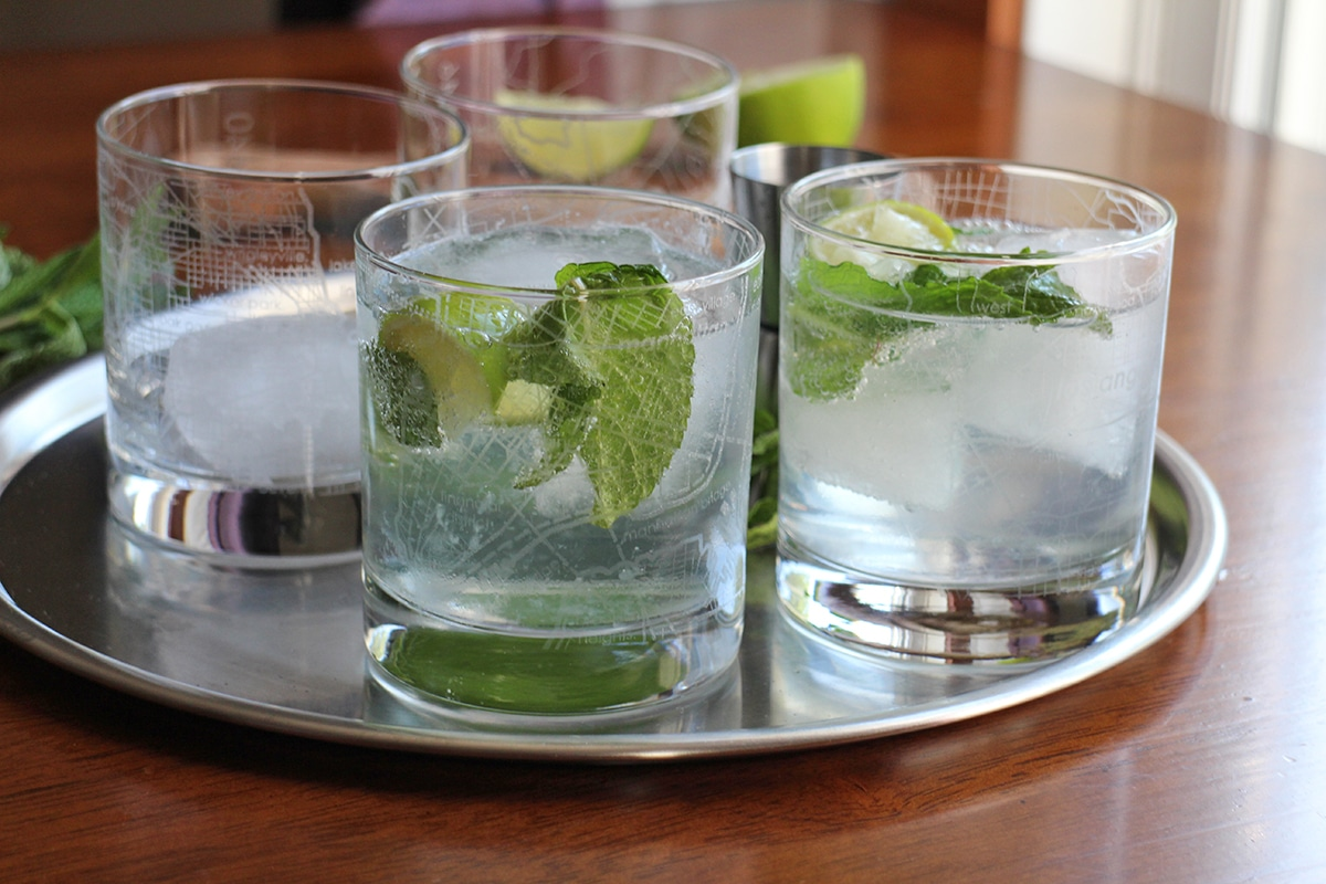 Glasses of gin and tonic on tray.