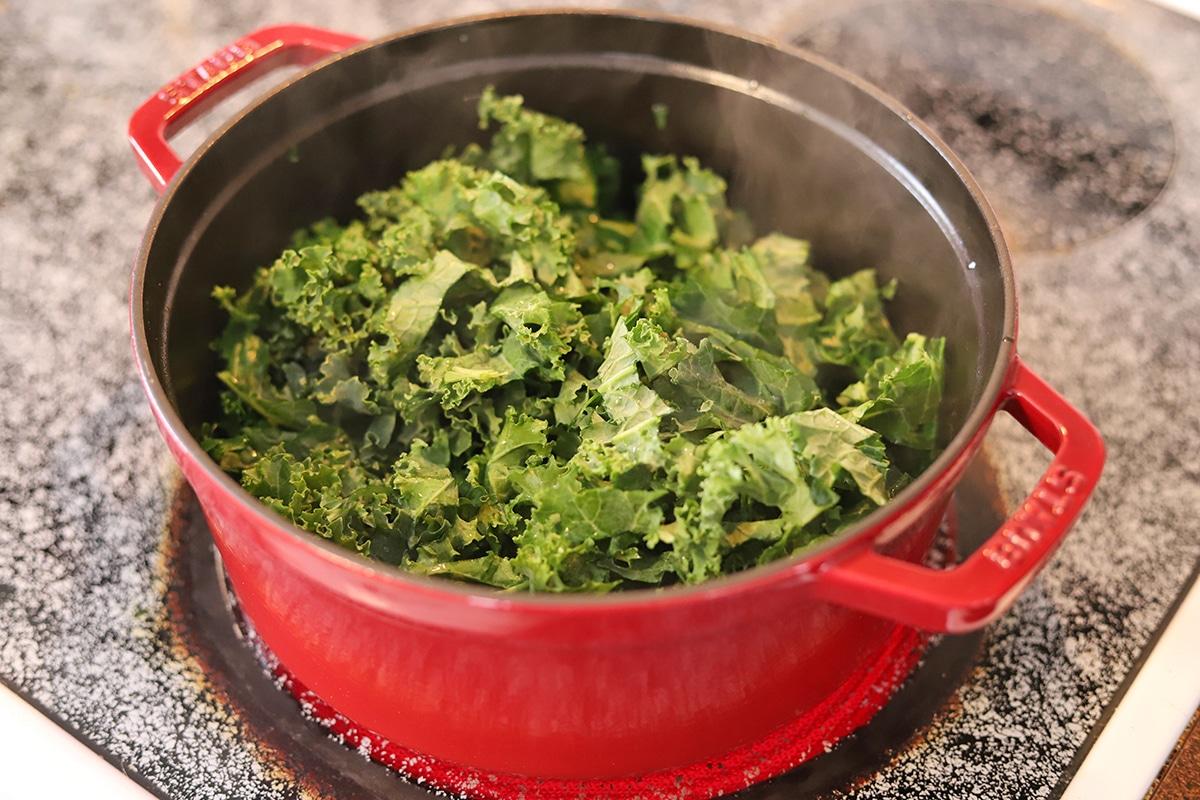 Bunch of chopped kale in pot.