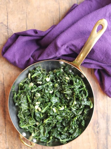 Overhead sauteed kale and garlic.