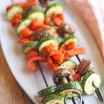 Text overlay: Grilled vegetable skewers. Zucchini, bell pepper, mushrooms, and grape tomatoes on kebabs.