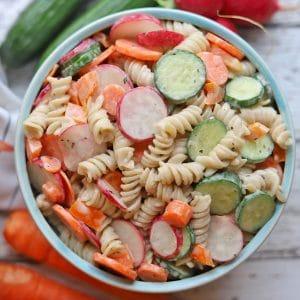 Overhead vegan pasta salad in blue bowl.