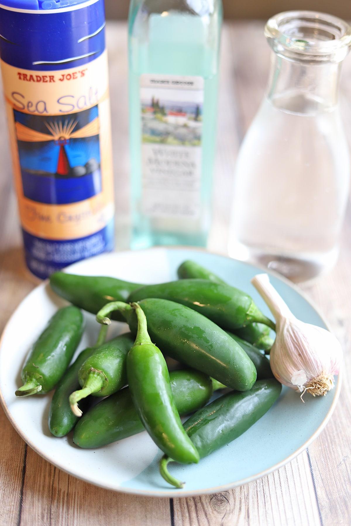Ingredients for quick pickled jalapenos: jalapeno peppers, salt, vinegar, water, and garlic.
