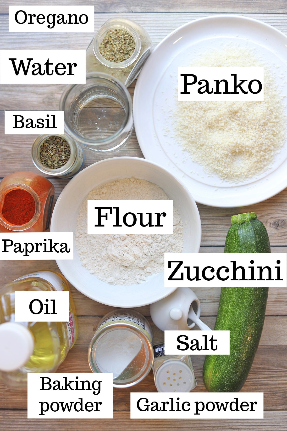 Overhead fried zucchini ingredients with labels.