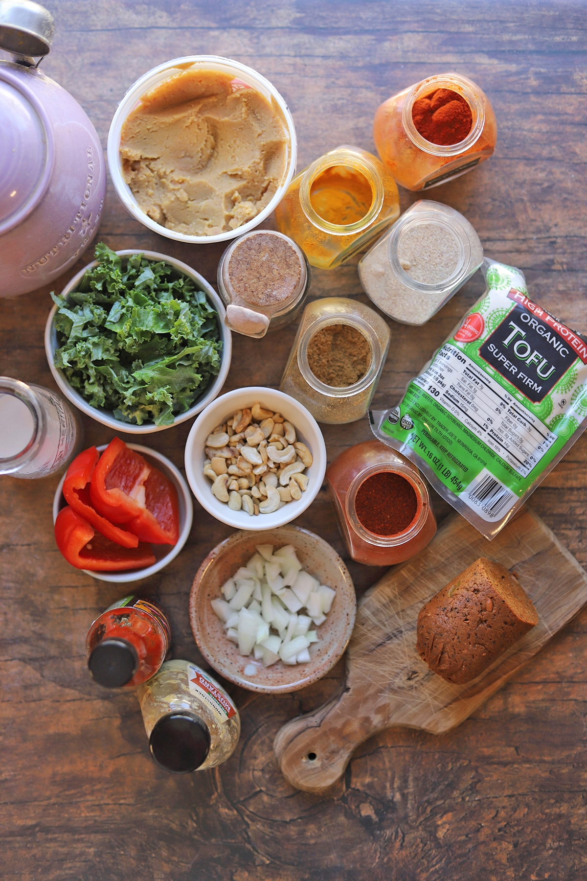 Overhead vegan frittata ingredients on table.