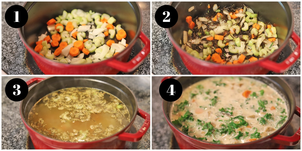 4 panel process shots for cooking wild rice soup in Dutch oven on stovetop.